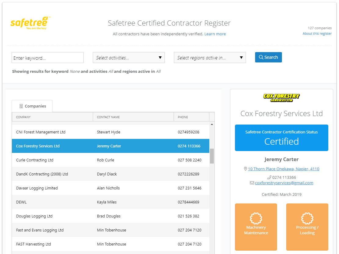The Safetree Certified Contractor Register generated by the BraveGen system